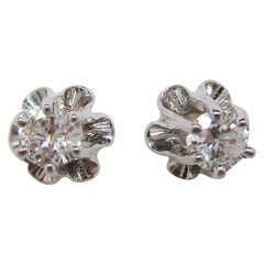 14 Karat White Gold Buttercup Setting Diamond Stud Earrings