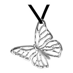 14 Karat White Gold Butterfly Necklace on Suede