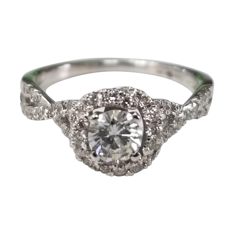 14 Karat White Gold Bypass Diamond Ring