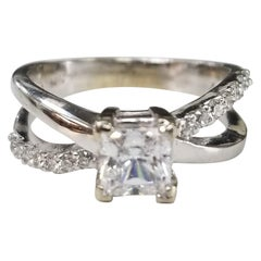 14 Karat White Gold Bypass Diamond Ring with Crystal Center