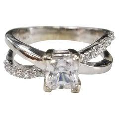 14 Karat White Gold Bypass Diamond Ring with CZ Center