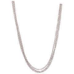 14 Karat White Gold Cable Link Three-Strand Necklace