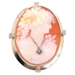 14 Karat White Gold Cameo Brooch and Pendant Woman Profile with Diamond Necklace