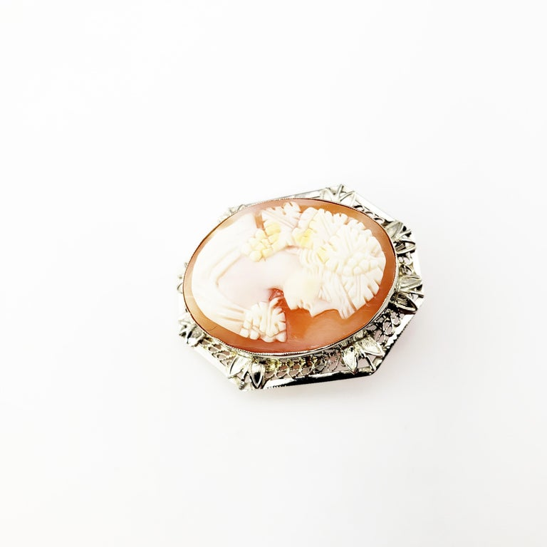 Vintage 14 Karat White Gold Cameo Brooch / Pendant  This elegant cameo features a lovely lady in profile set in beautifully detailed 14K white gold filigree. Can be worn as a brooch or a pendant.  Size: 30 mm x 24 mm  Weight: 3.7 dwt. / 5.9