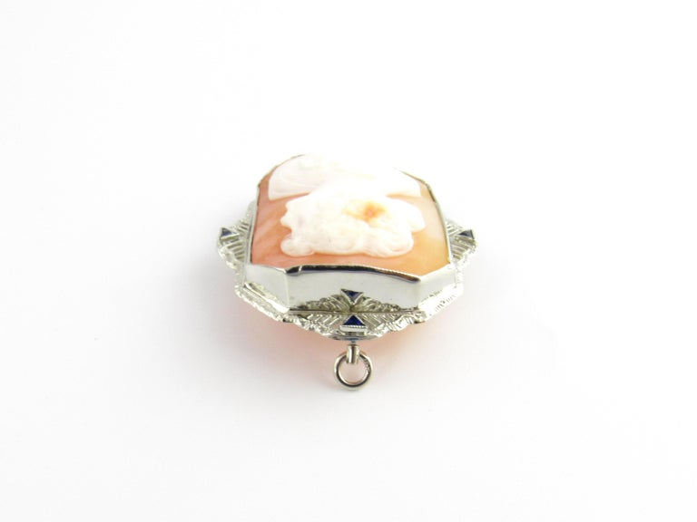 14 Karat White Gold Cameo Brooch / Pendant In Good Condition For Sale In New Milford, CT
