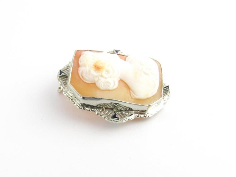 Women's 14 Karat White Gold Cameo Brooch / Pendant For Sale