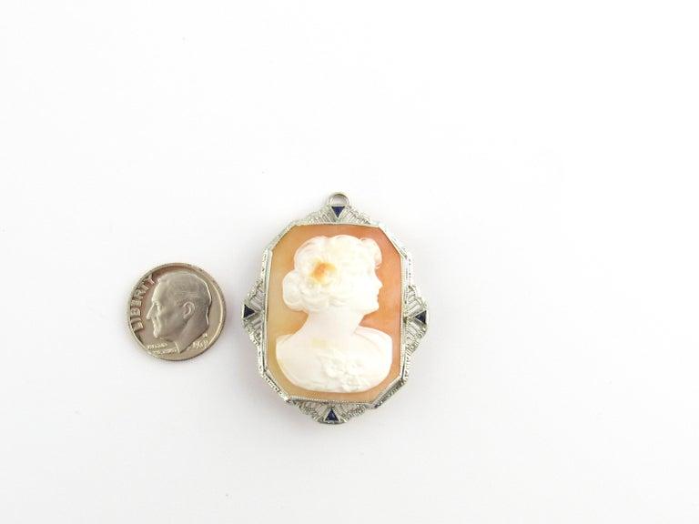 14 Karat White Gold Cameo Brooch / Pendant For Sale 3