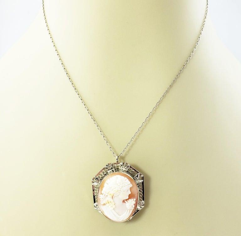 14 Karat White Gold Cameo Brooch / Pendant For Sale 4