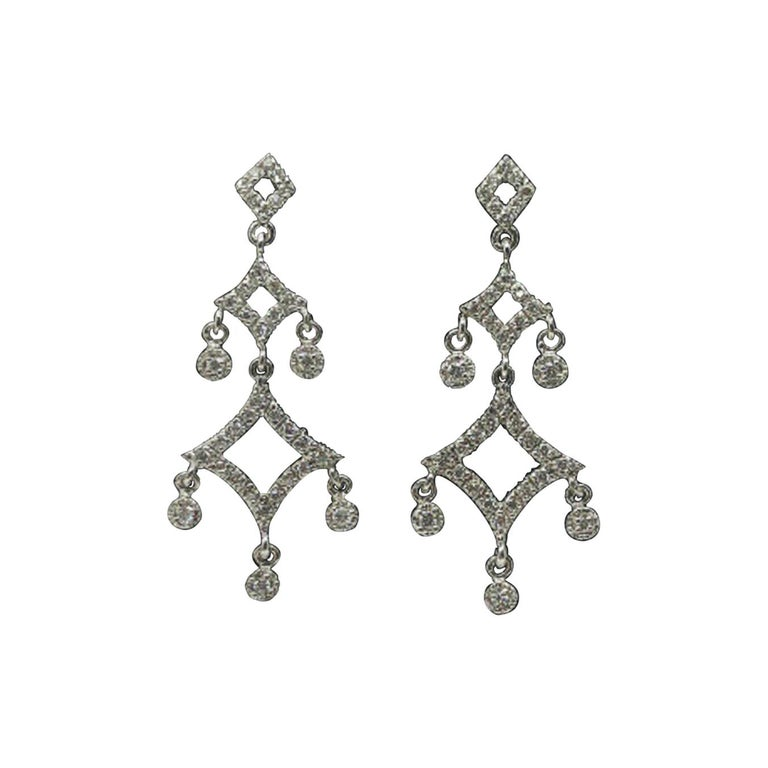 "14 Karat White Gold ""Chandelier"" Diamond Earrings For Sale"
