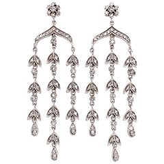 14 Karat White Gold Chandelier Diamond Earrings