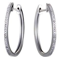 14 Karat White Gold Channel Set Diamond Hoop Huggies Earrings .10 Carat
