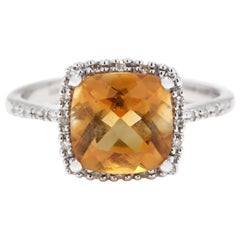 14 Karat White Gold Citrine and Diamond Halo Ring