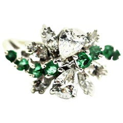 14 Karat White Gold Cluster Cocktail Ring of Diamonds and Emeralds
