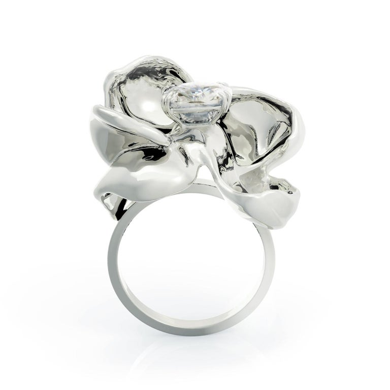 14 Karat White Gold Cocktail Ring with SGCU Certified 0.62 Carat Diamond For Sale 4