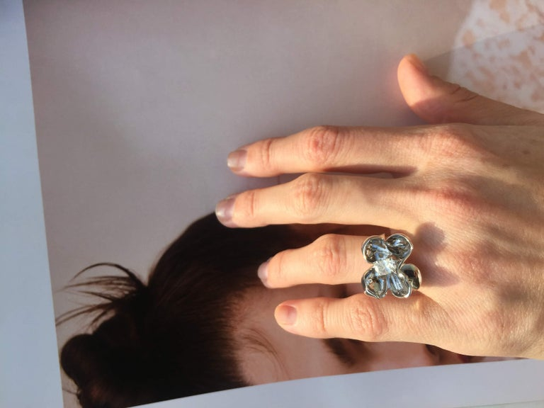 Artist 14 Karat White Gold Cocktail Ring with SGCU Certified 0.62 Carat Diamond For Sale