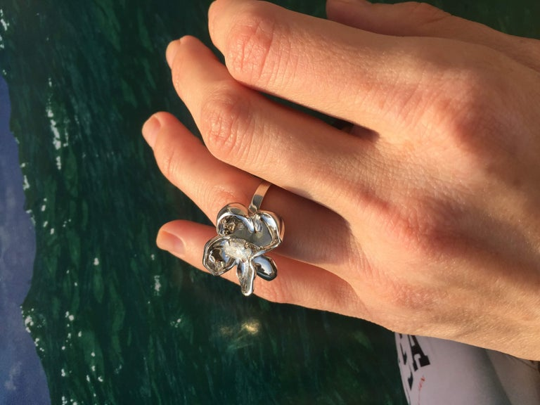 Women's 14 Karat White Gold Cocktail Ring with SGCU Certified 0.62 Carat Diamond For Sale