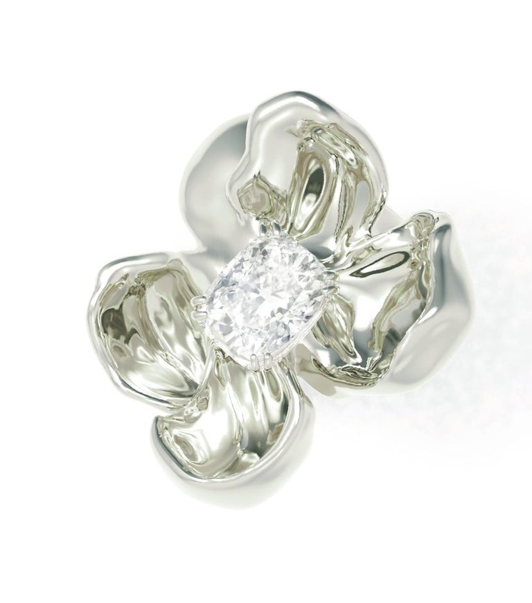 14 Karat White Gold Cocktail Ring with SGCU Certified 0.62 Carat Diamond For Sale 1