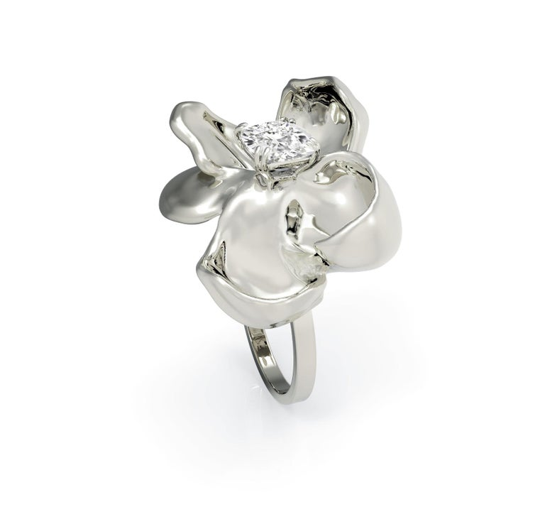 14 Karat White Gold Cocktail Ring with SGCU Certified 0.62 Carat Diamond For Sale 3