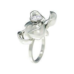 14 Karat White Gold Cocktail Ring with SGCU Certified 0.62 Carat Diamond