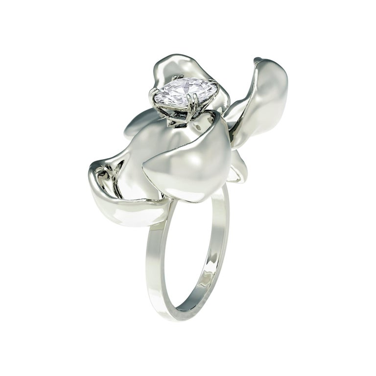 14 Karat White Gold Cocktail Ring with SGCU Certified 0.62 Carat Diamond For Sale