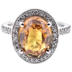 14 Karat White Gold Cognac Sapphire and Diamond Ring