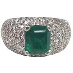 14 Karat White Gold Colombian Emerald and Micro-pavé Diamond Ring