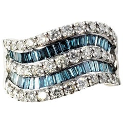 14 Karat White Gold Color Treated Blue and White Diamond Band Ring
