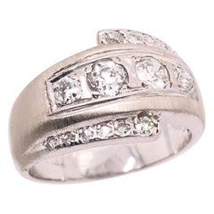 14 Karat White Gold Contemporary Diamond Band Wedding Bridal Ring