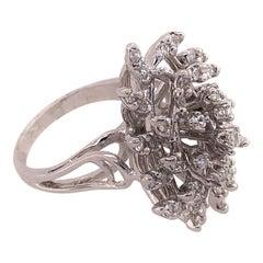 14 Karat White Gold Contemporary Diamond Cluster Ring