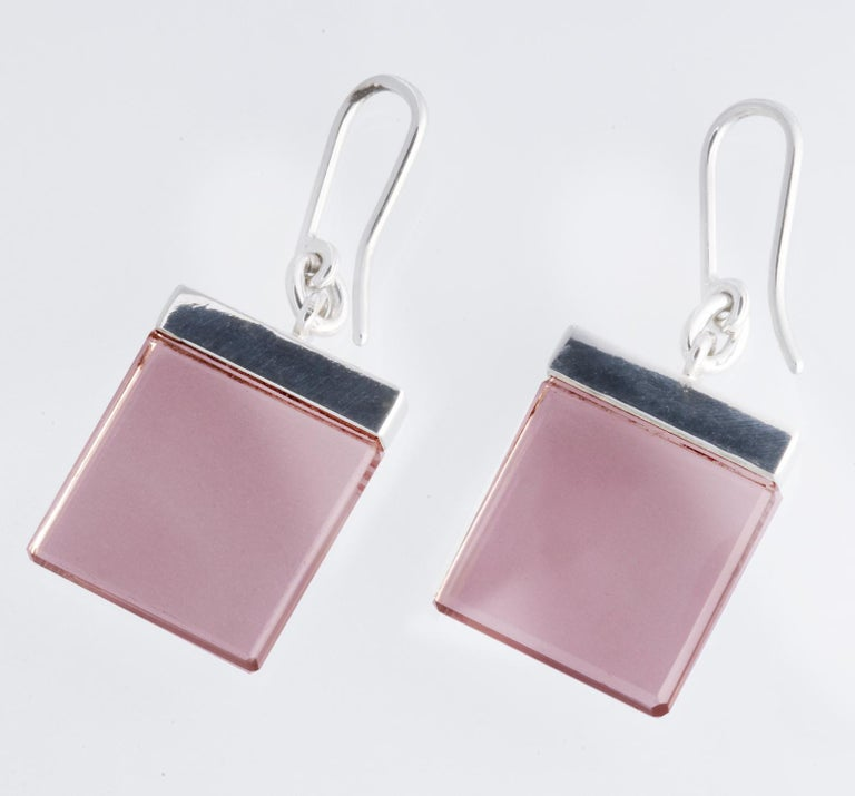 Women's 14 Karat White Gold Contemporary Earrings by Artist with Rose Quartz For Sale