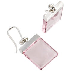 14 Karat White Gold Contemporary Earrings by Artist with Rose Quartz