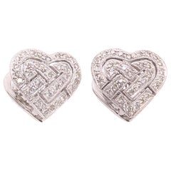 14 Karat White Gold Contemporary Heart Earrings with Diamonds