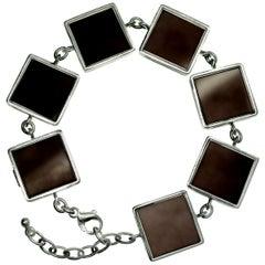 14 Karat White Gold Contemporary Jewellery Ink Art Bracelet with Smoky Quartz