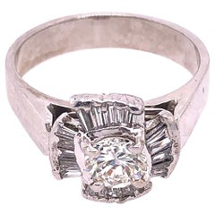 14 Karat White Gold Contemporary Ring with Diamond Cluster 1.00 TDW