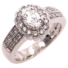 14 Karat White Gold Contemporary Ring with Diamonds Engagement 1.00 TDW