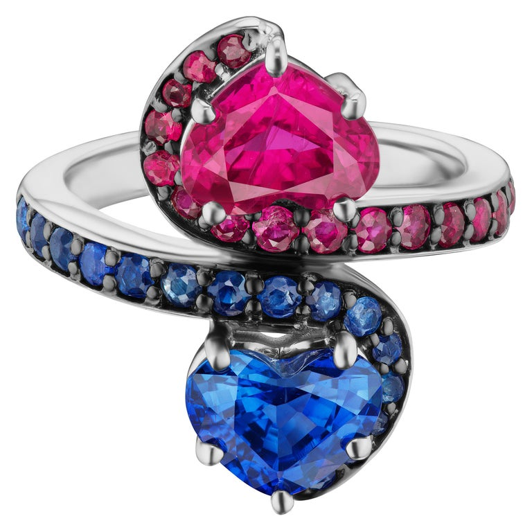14 Karat White Gold Contrarie Ruby and Sapphire Heart Cocktail Ring For Sale