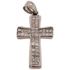 14 Karat White Gold Cross Pendant with Square Cushion Diamond 1.00 TDW