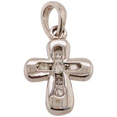 14 Karat White Gold Cross / Religious Pendant 0.10 Total Diamond Weight