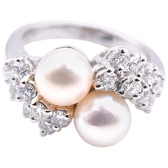 14 Karat White Gold Cultured Akoya Pearl and Diamond Ring