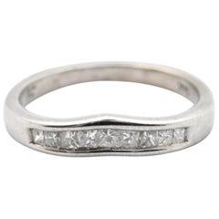 14 Karat White Gold Curved 0.40 Carat Princess Cut Diamond Band Ring