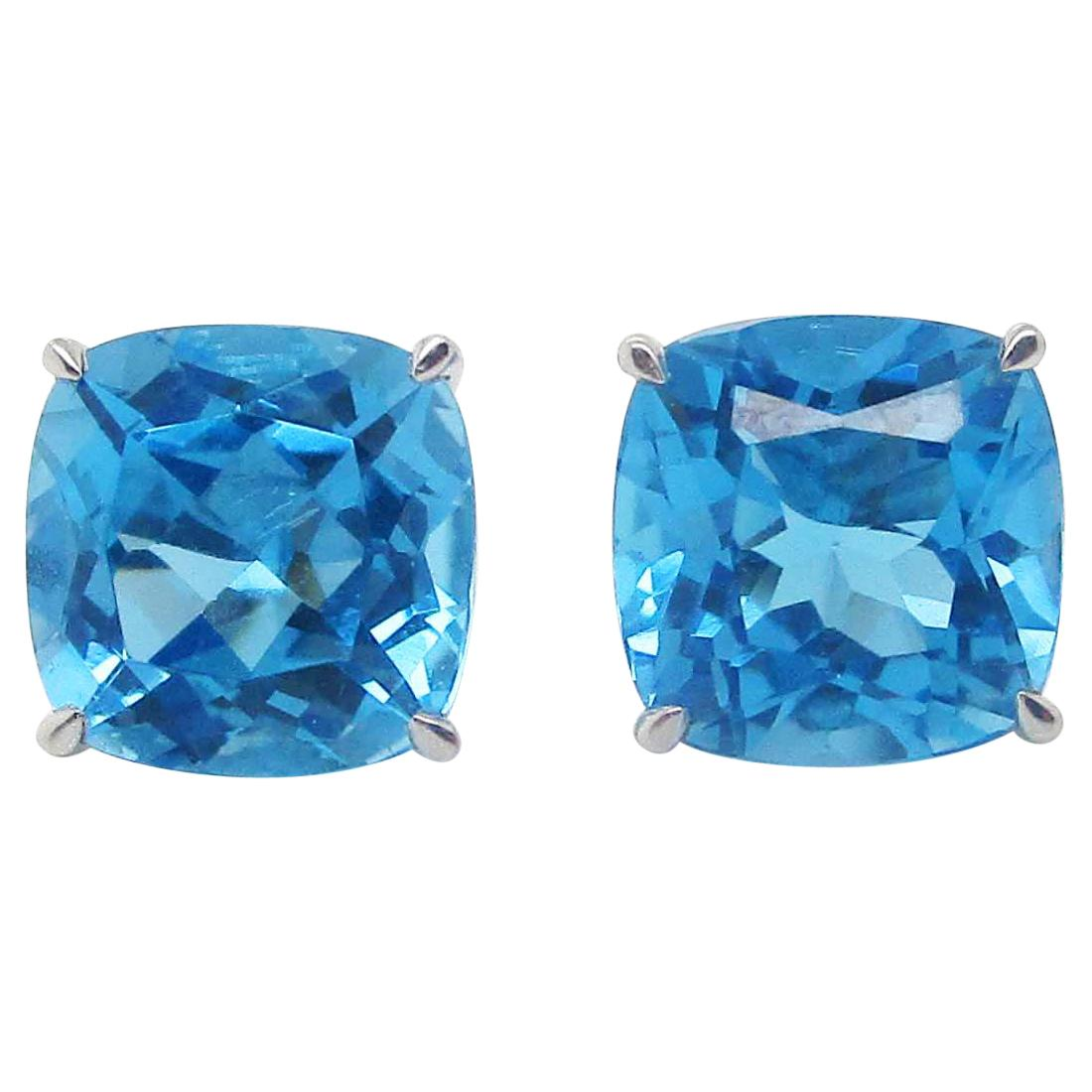 14 Karat White Gold Cushion Cut Blue Topaz Stud Earrings
