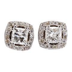 14 Karat White Gold Princess Cut Diamond Earrings with a Halo