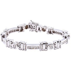 14 Karat White Gold Custom Diamond Link Bracelet