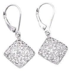 14 Karat White Gold Dangle Earrings