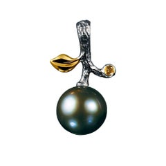 14 Karat White Gold Dark Tahitian Pearl and Yellow Sapphire Pendant