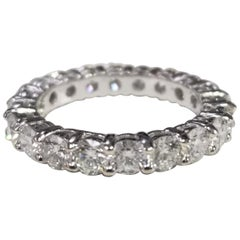 14 Karat White Gold Diamond 2.50 Carat Eternity Ring with Shared Prongs