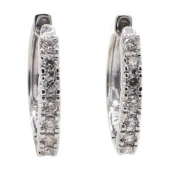 14 Karat White Gold Diamond .30 Carat Huggie Hoop Earrings