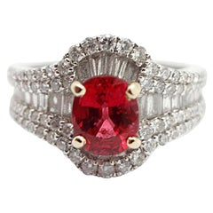 14 Karat White Gold, Diamond and 1.60 Carat Red Spinel Ring