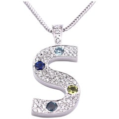 "14 Karat White Gold Diamond and 4-Stone ""S"" Pendant Necklace"