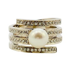 14 Karat White Gold, Diamond and Akoya Cultured Pearl Four-Row Ladies Ring